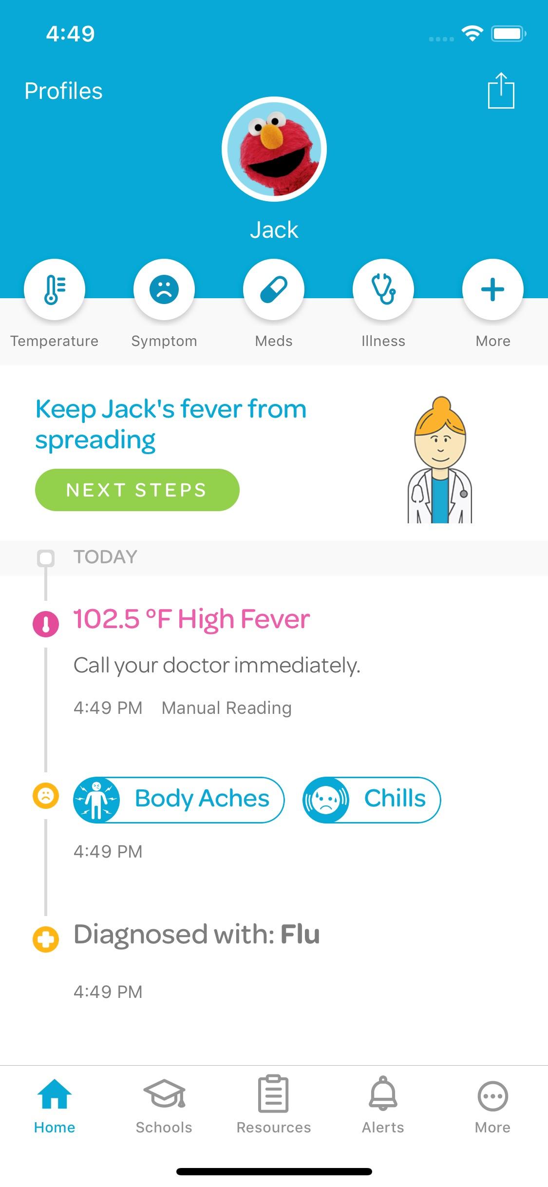 Screenshot do app Kinsa Smart Stick