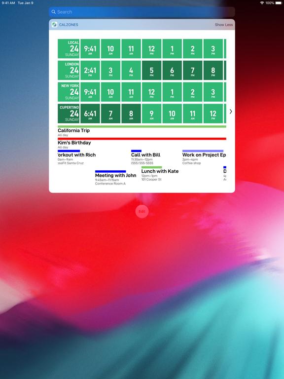 CalZones iPad captures décran
