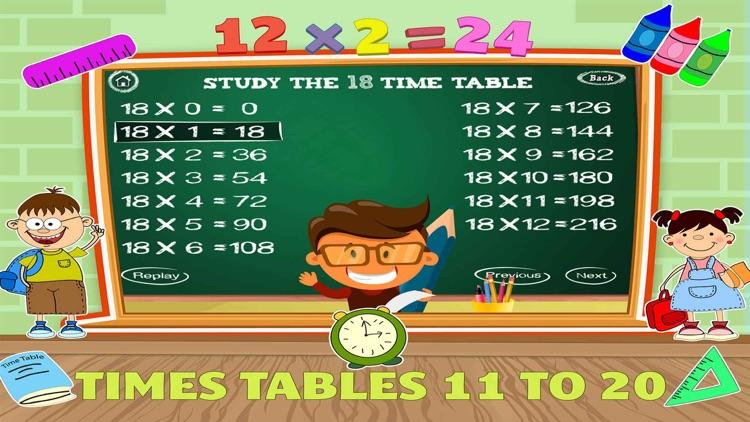 Math Times Table Quiz Games