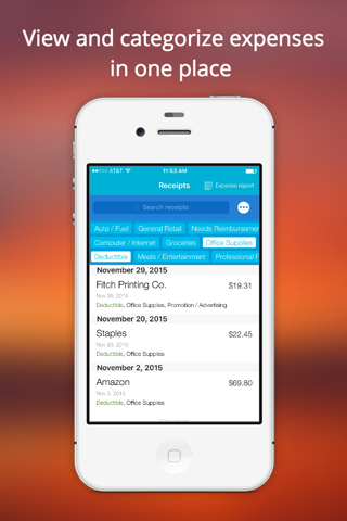 Screenshot of Shoeboxed Receipt Tracker