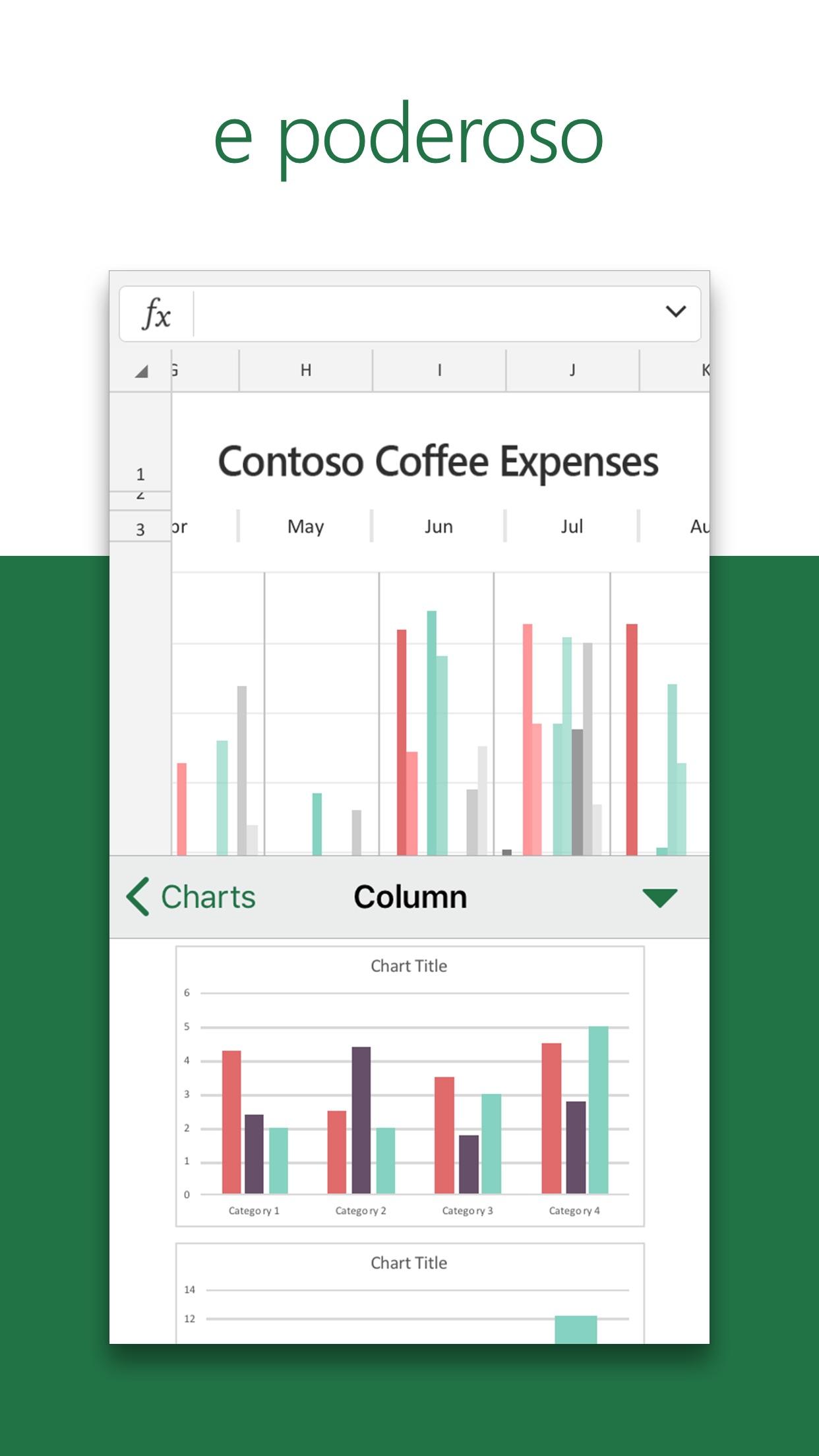 Screenshot do app Microsoft Excel