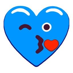 Heart Blue Love Emoji Stickers