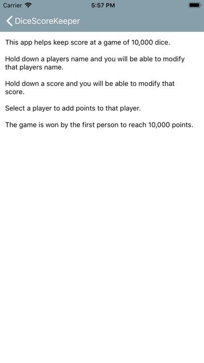 Dice Score Keeper