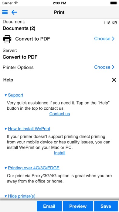 PrintDirect - PDF & print documents, photos, web pages and email screenshot