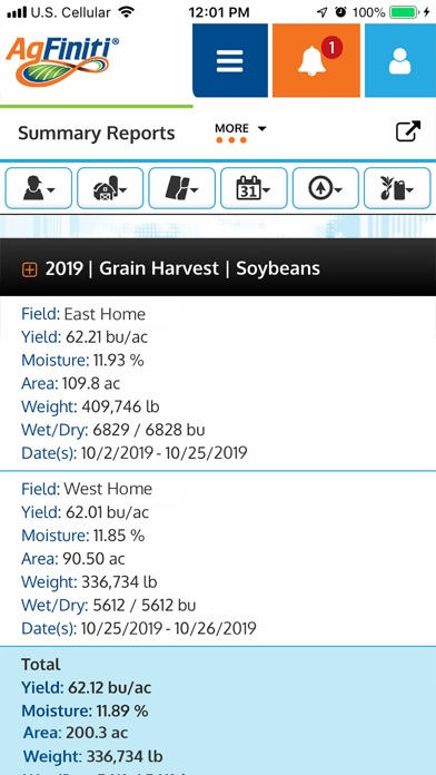 Screenshot of Ag Leader AgFiniti App