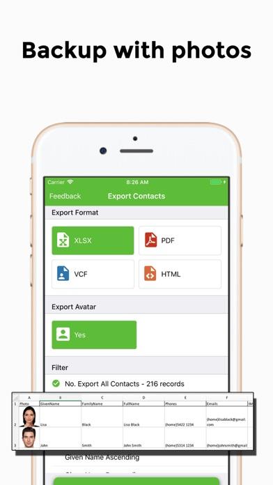 Export Contact to XLS PDF VCF ScreenShot7