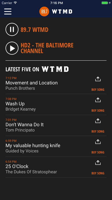 89.7 WTMD screenshot one