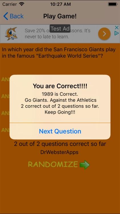 Trivia Game for SF Giants fans screenshot-4