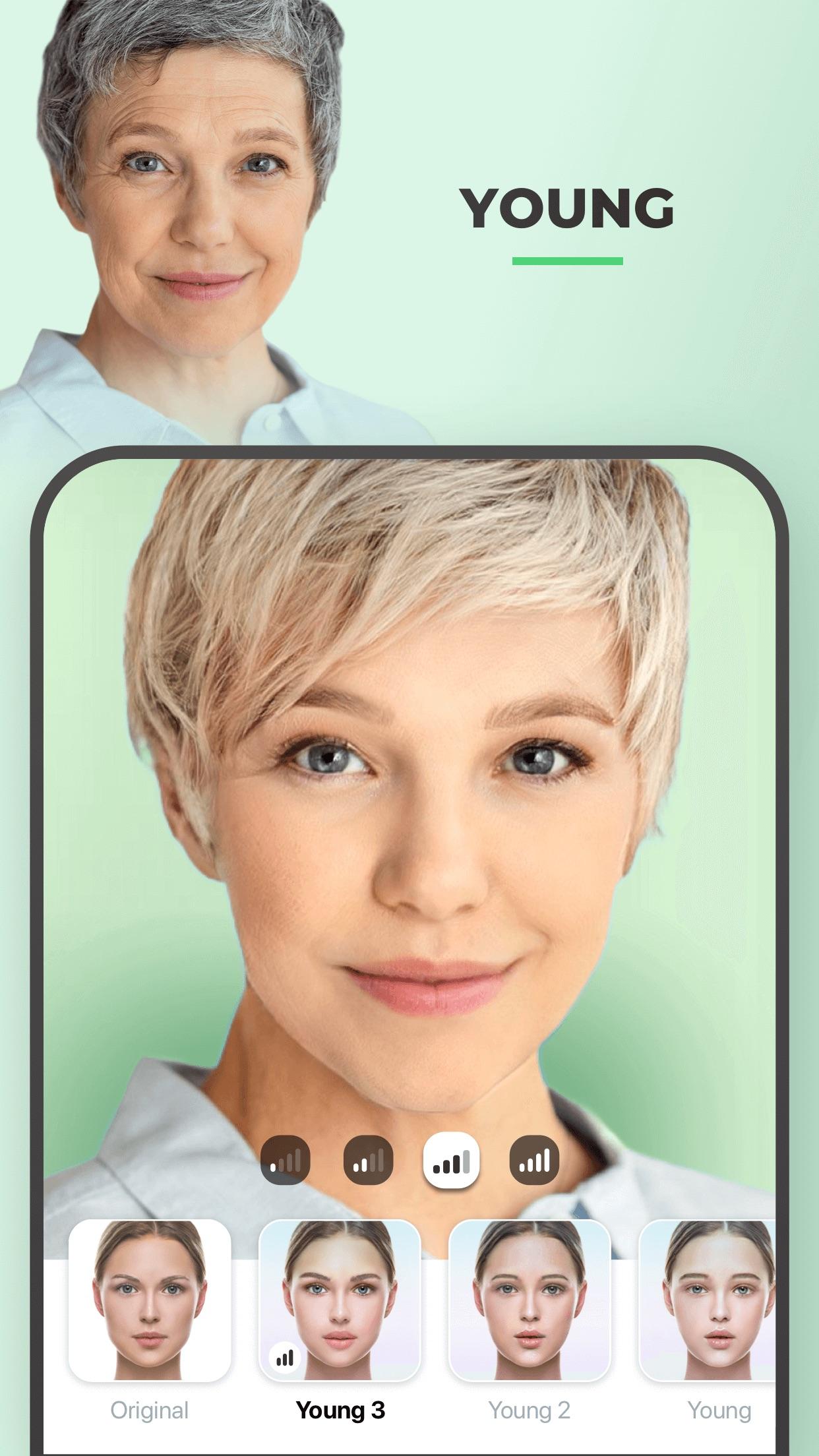 Screenshot do app FaceApp - Editor Facial com IA