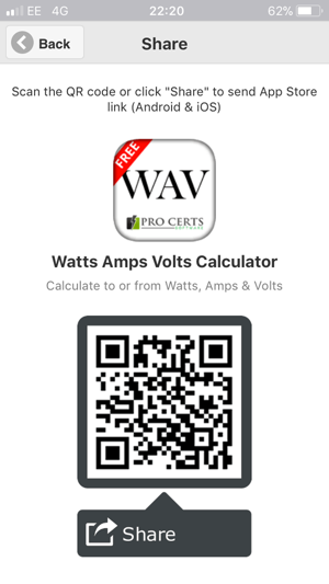 ‎Watts Amps Volts  Calculator Screenshot