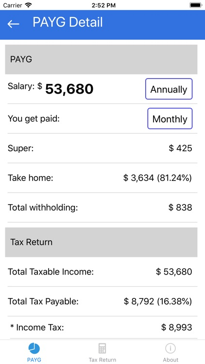 Tax Calculator 2019 ATO Rate by ZTech Pty Ltd