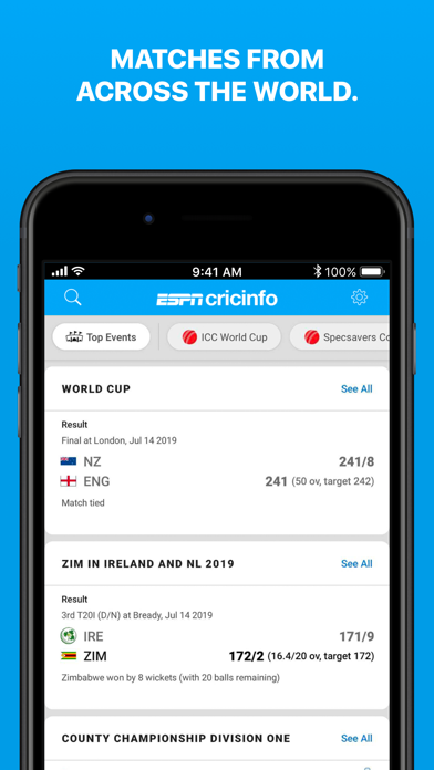 Screenshot for Cricinfo - Live Cricket Scores in Pakistan App Store