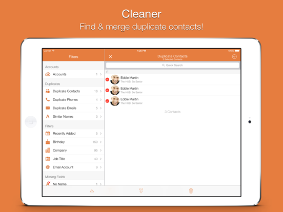 Cleaner – Remove Duplicate Contacts Clean Master for iCloud Gmail Outlook & Yahoo contacts screenshot