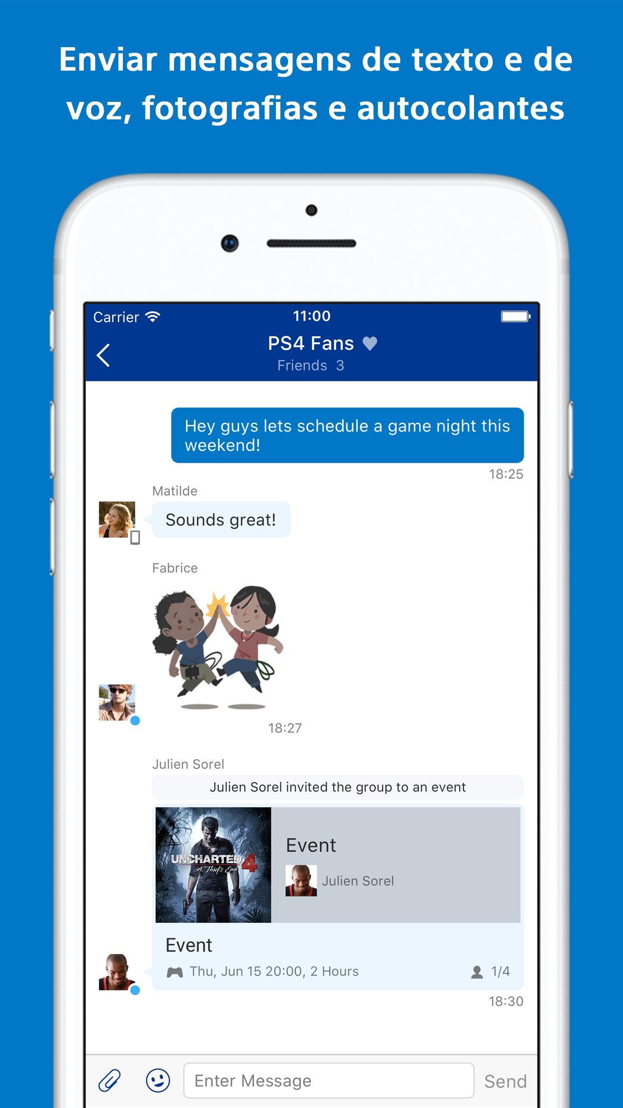 Screenshot do app PlayStation Messages