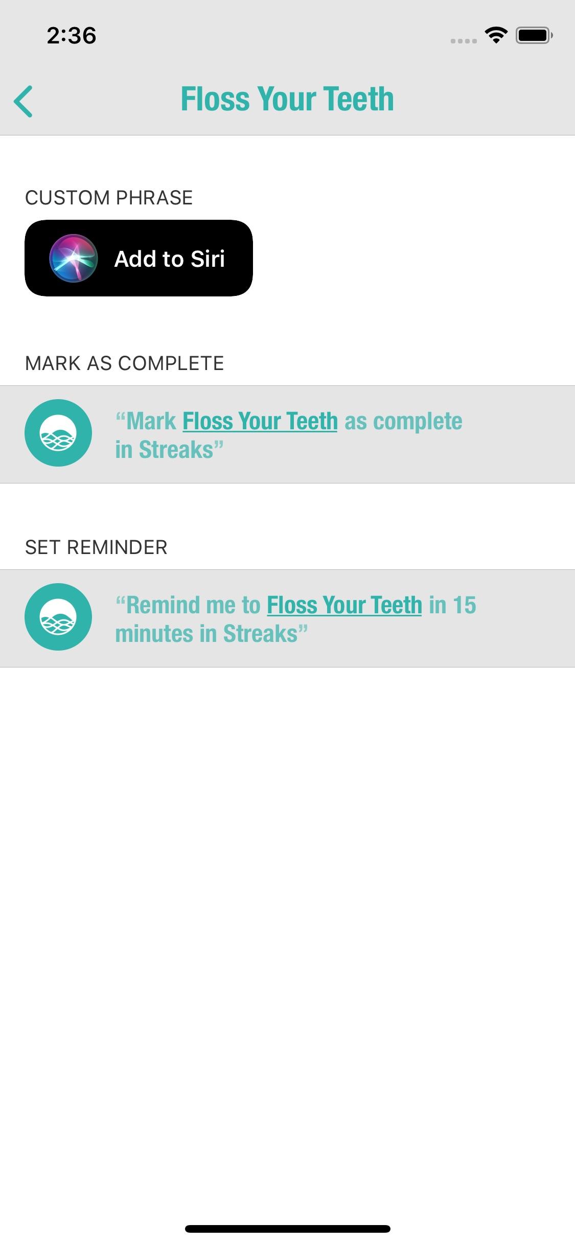 Screenshot do app Streaks