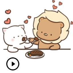 Cute Couple Kitty Lion Sticker