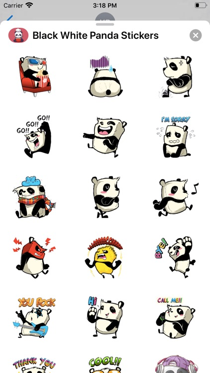 Black White Panda Stickers