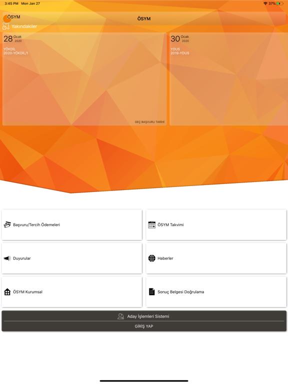 ÖSYM Aday İşlemleri Sistemi ipad ekran görüntüleri