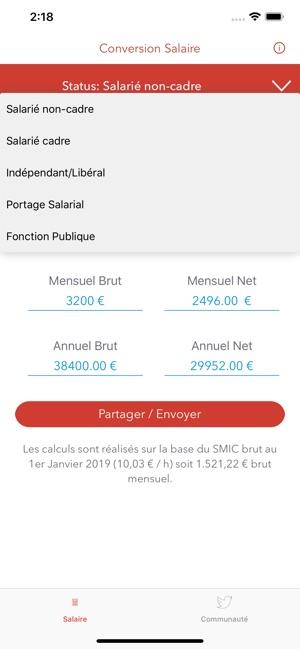 Calcul Salaire Brut En Net Dans L App Store