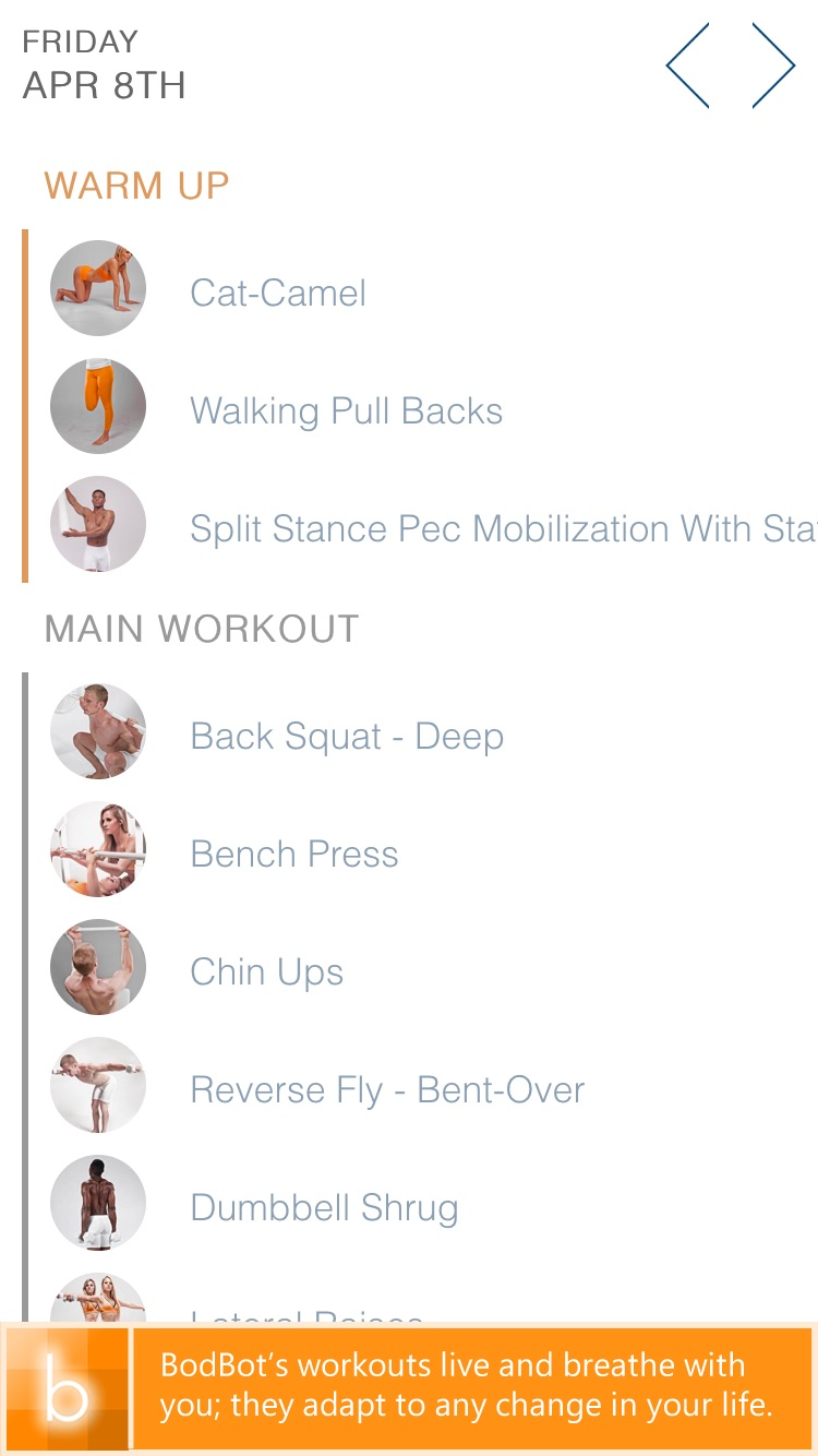 BodBot Personal Trainer Screenshot