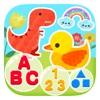 幼児は英語の文字ABCの色番号と形を学ぶ