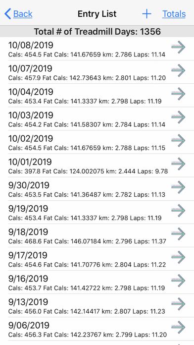 Treadmill Logger Screenshots