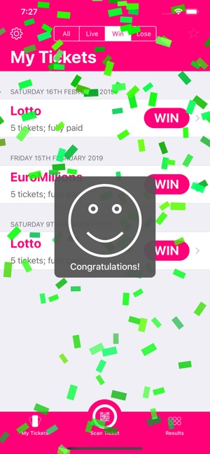 lotto app not scanning