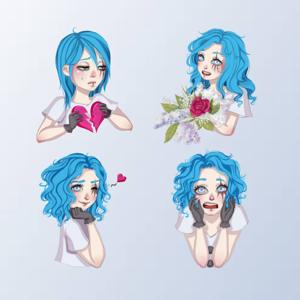Blue Hair Girl Emojis - Stickers app