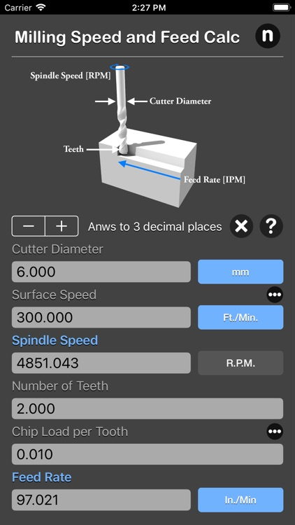 Milling Speed and Feed Calc screenshot-5