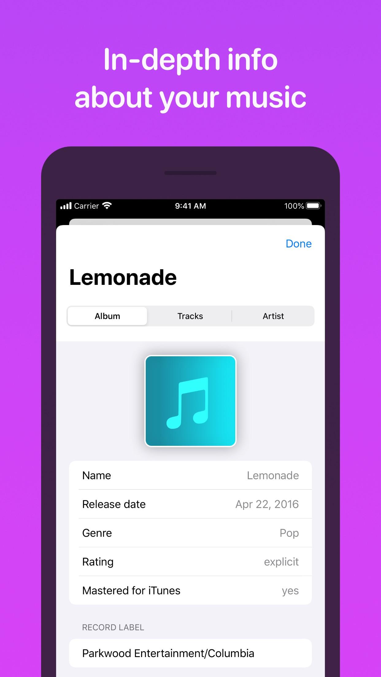Screenshot do app MusicSmart - Liner Notes