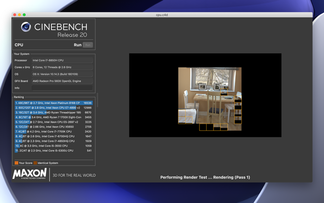 Cinebench on the Mac App Store