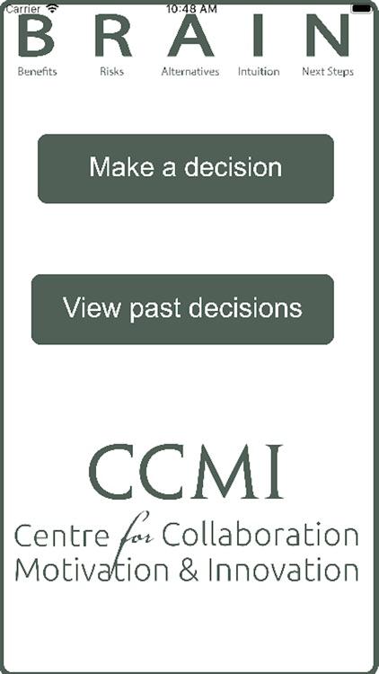 CCMI BRAIN Decision Making App