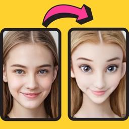 Faceloop cartoon AI face edits