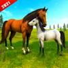 野生の馬の家族の生存3Dアイコン