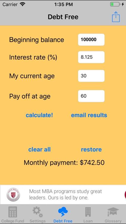 collegeFund ~college loan calc