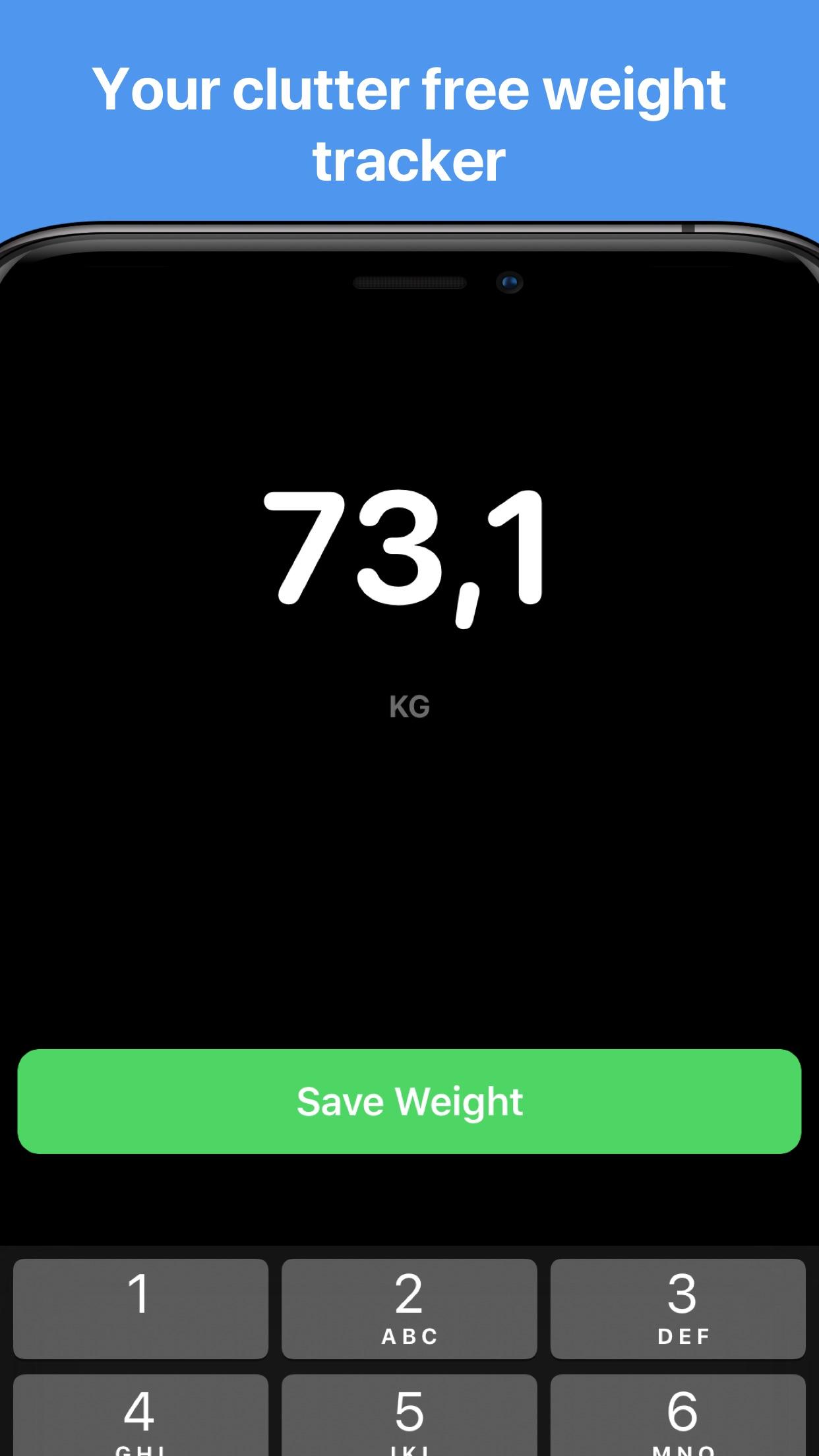 Screenshot do app Vekt - Weight Tracking