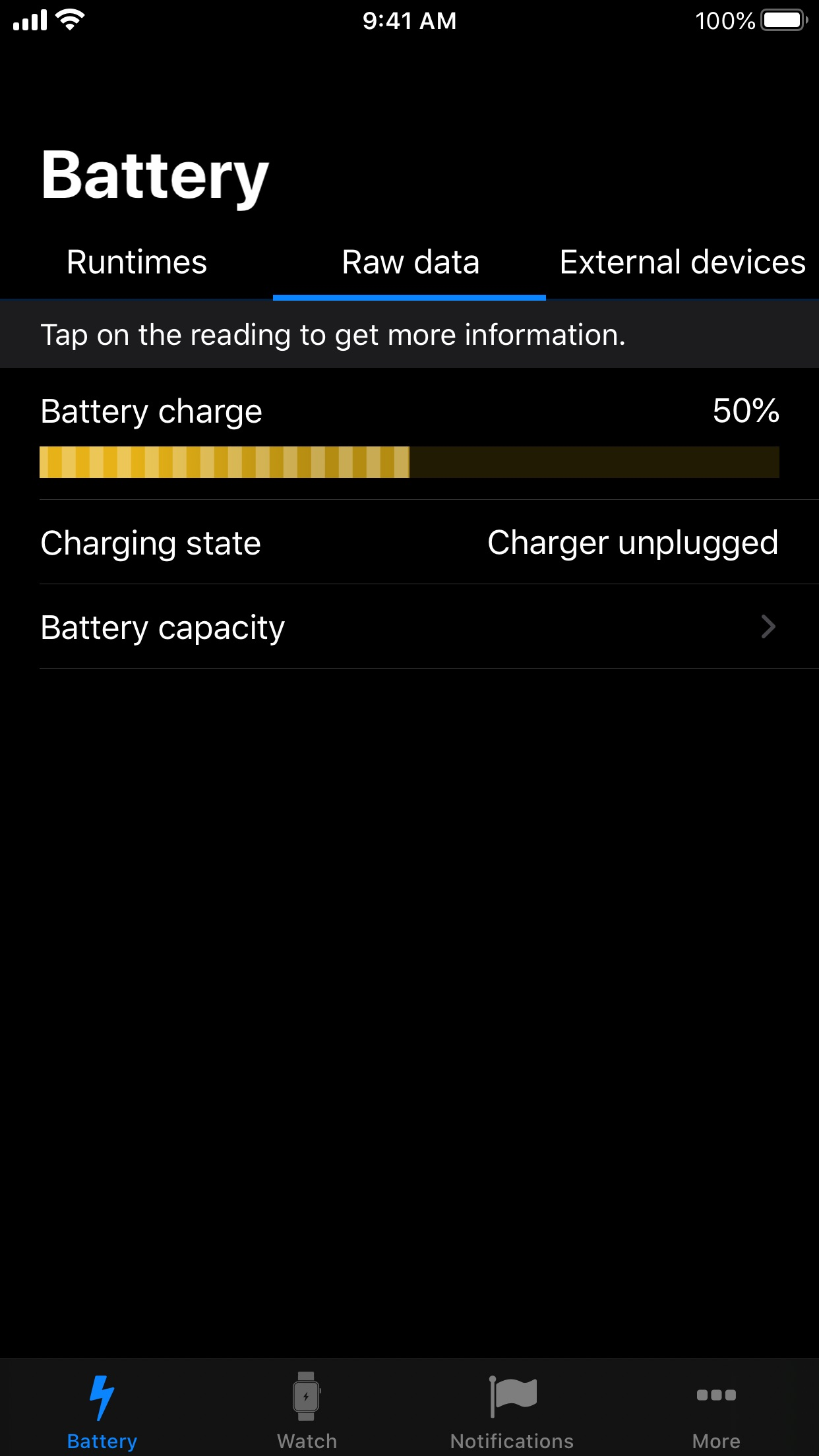 Screenshot do app Battery Life