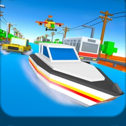 Blocky Cars Water Surfing