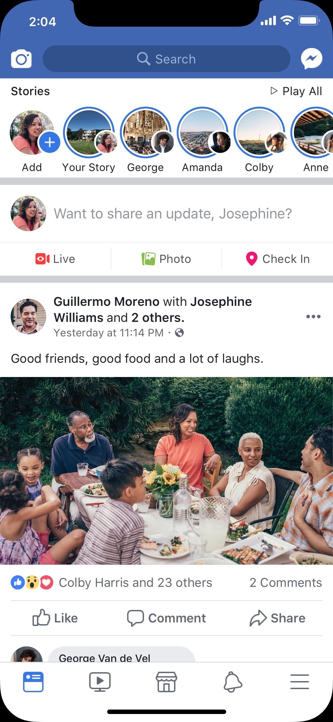 Screenshot do app Facebook
