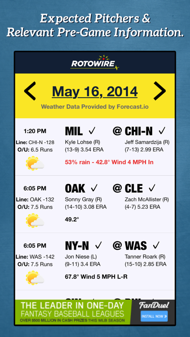Daily Baseball Lineups Screenshot