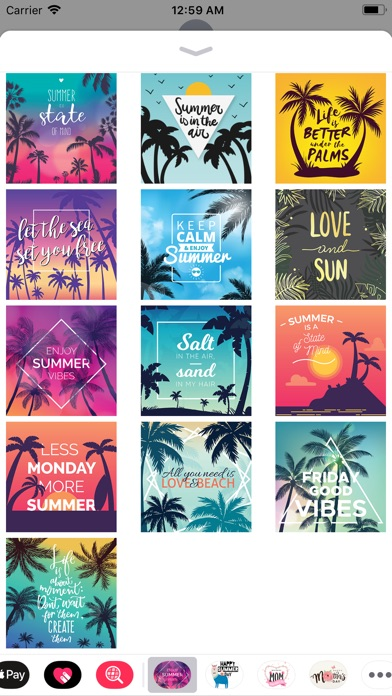 Screenshot of Summer Holiday Quotes Stickers App