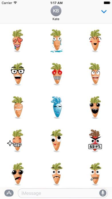 Cute Carrot Emoji Sticker Screenshot