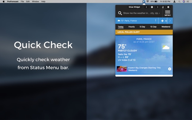 ProForecast for WeatherChannel on the MacAppStore