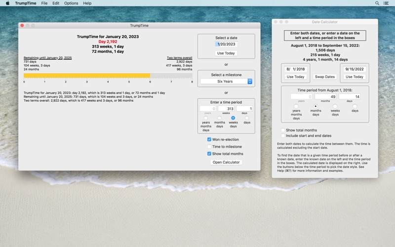 TrumpTime Date Calculator скриншот программы 2