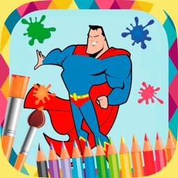 Superhero paint coloring book