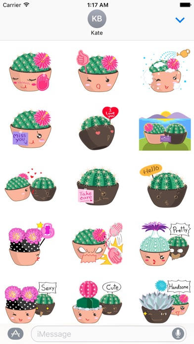Lovely Cactus Emoji Sticker Screenshot