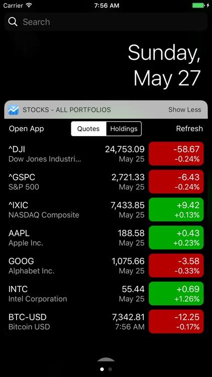 Stocks Widget and Portfolio