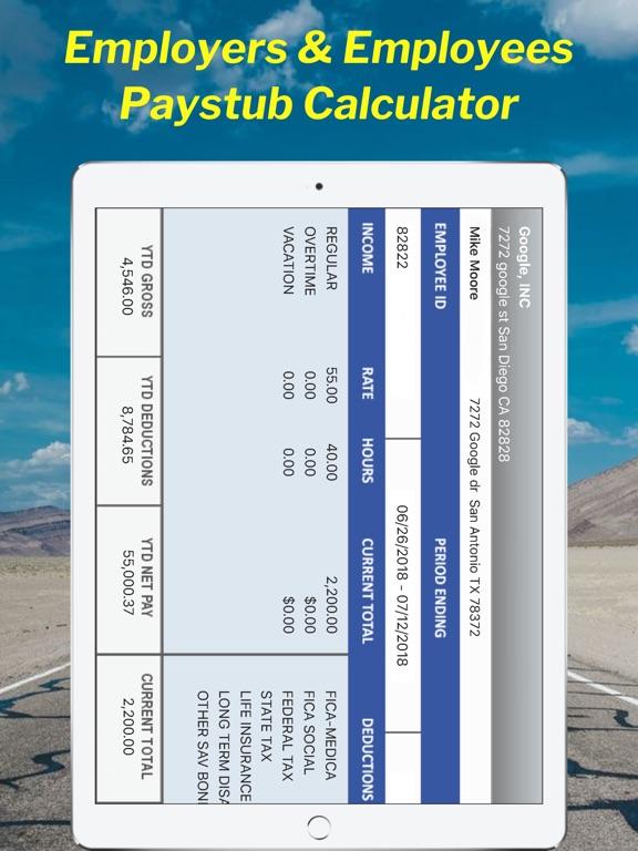 screenshot 1 for global paystub calculator