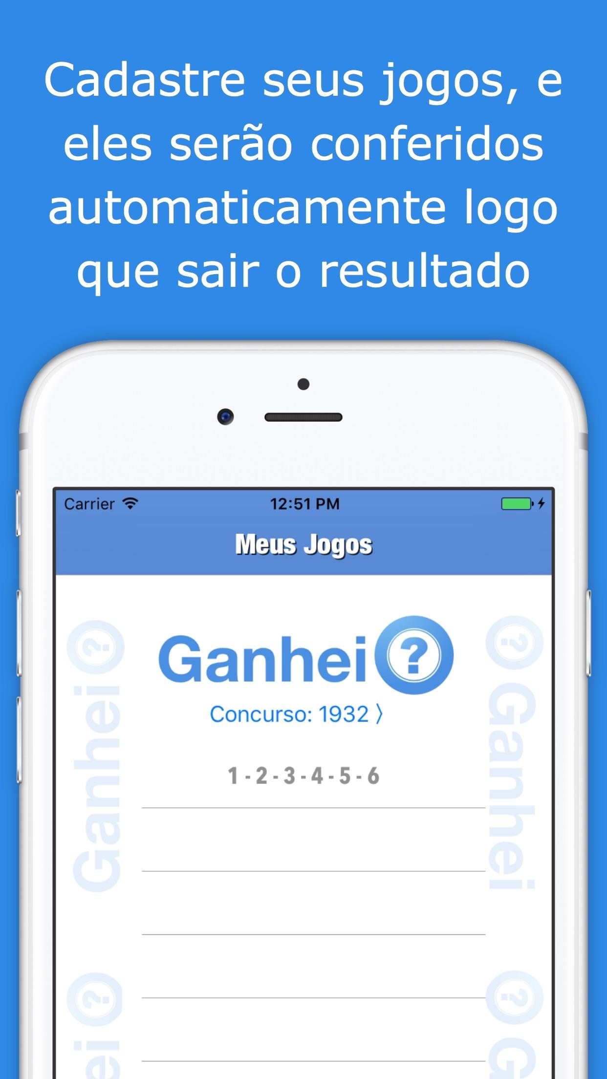 Screenshot do app Ganhei? - Resultados Mega Sena