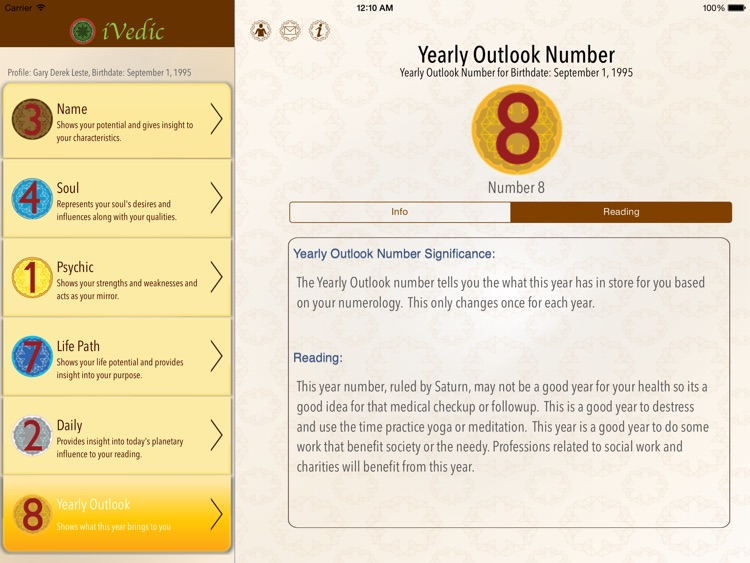 iVedic Numerology reading